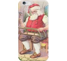 A Vintage Merry Christmas Santa Claus in his Workshop iPhone Case/Skin