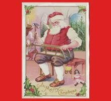 A Vintage Merry Christmas Santa Claus in his Workshop Baby Tee
