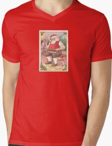 A Vintage Merry Christmas Santa Claus in his Workshop Mens V-Neck T-Shirt