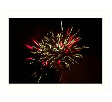 Red and Green Fireworks in the sky at Tomarata Art Print