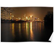 Moonrise over Austin, Tx Poster