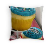Blue party cupcakes Throw Pillow