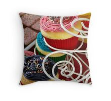 Pink Purple Party Cupcakes Throw Pillow