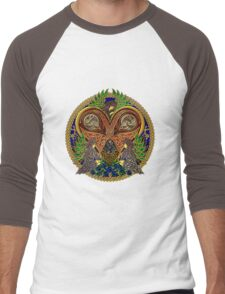 Celtic Heart with Angels and Birds Men's Baseball ¾ T-Shirt