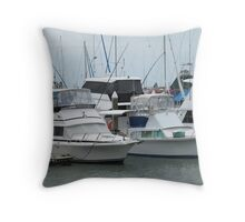 Various Boats & Masts, Marina 'Cairns' on a wet day. Winter. Throw Pillow