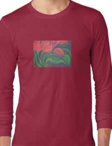 Red Tulip Diptych Long Sleeve T-Shirt