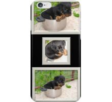 Collage Of Puppy Rottweiler Sitting In Food Bowl iPhone Case/Skin