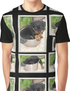 Collage Of Puppy Rottweiler Sitting In Food Bowl Graphic T-Shirt
