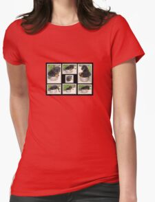 Collage Of Puppy Rottweiler Sitting In Food Bowl Womens Fitted T-Shirt