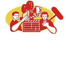 Film Director Movie Camera Clapper Soundman by retrovectors