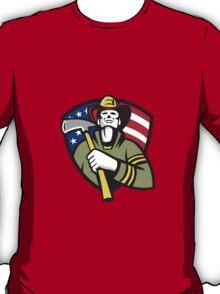 American Fireman Firefighter Emergency Worker  T-Shirt