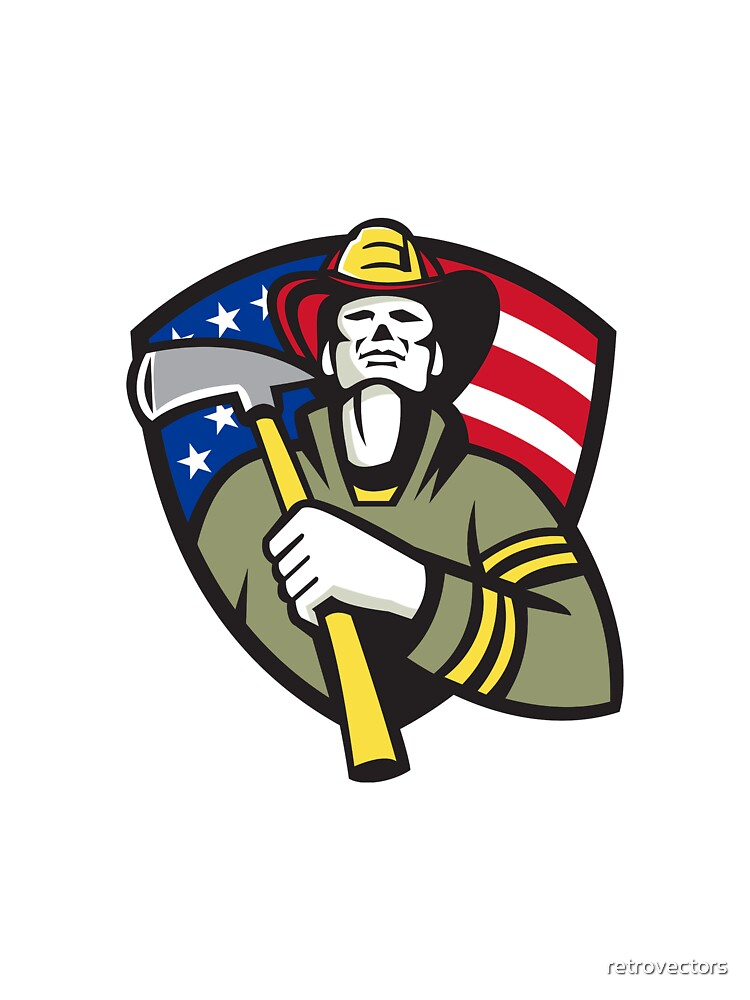 American Fireman Firefighter Emergency Worker  by retrovectors