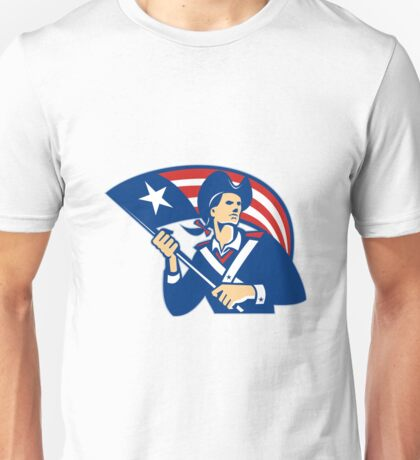 American Patriot Minuteman With Flag Retro  Unisex T-Shirt