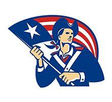 American Patriot Minuteman With Flag Retro  by retrovectors