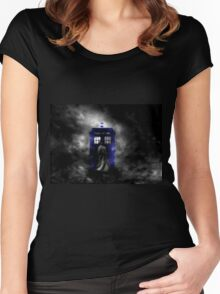 The Doctor and his blue box Women's Fitted Scoop T-Shirt