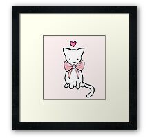 Kitten with Pink Bow Framed Print