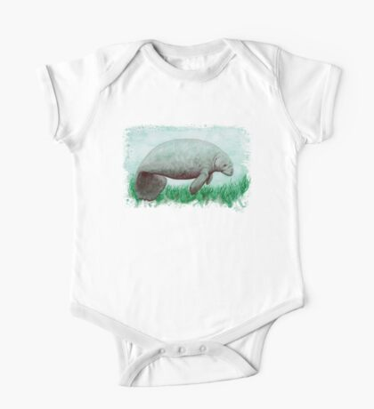 Manatee in Watercolor  One Piece - Short Sleeve