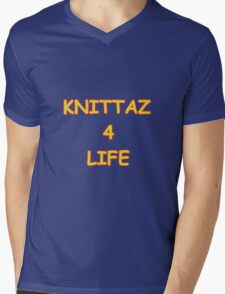 Knittaz 4 Life Mens V-Neck T-Shirt