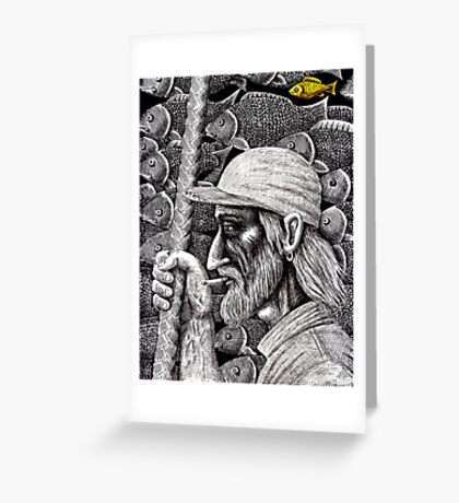 Old Fisherman surreal pen ink black and white drawing Greeting Card