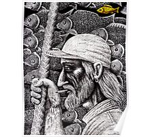 Old Fisherman surreal pen ink black and white drawing Poster