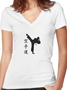 Karate Kung Fu  Women's Fitted V-Neck T-Shirt
