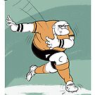 Cartoon of a rugby player by drawgood