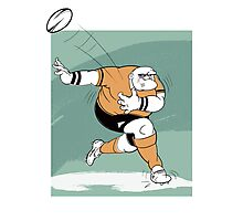 Cartoon of a rugby player Photographic Print
