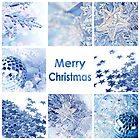 Merry christmas card, blue decoration collage by Delphimages