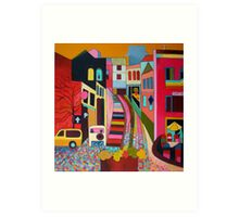 Monchique, view up the donkey steps Art Print
