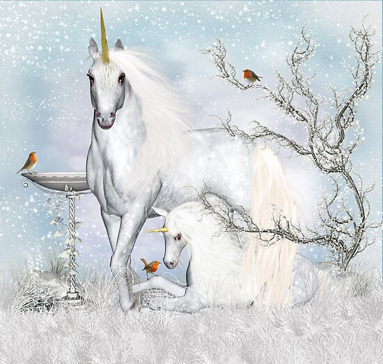 Winter Dreams Unicorn And Foal  by Moonlake