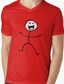 Happy Stickman Mens V-Neck T-Shirt