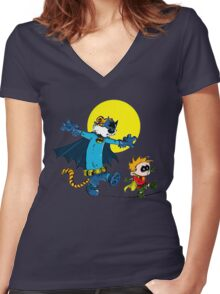 Funny Batman And Robin Women's Fitted V-Neck T-Shirt