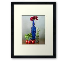 Blue glass bottle with vegetables and flowers Framed Print