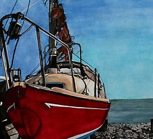 The boat - by the cliffs at Lyme Regis by samcannonart