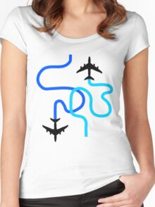 planes blue Women's Fitted Scoop T-Shirt