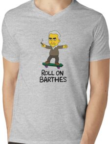 Roll On Barthes Mens V-Neck T-Shirt