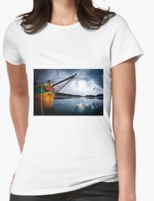 fishing boat in the harbour Split, Croatia  Womens Fitted T-Shirt