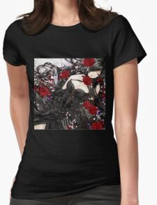 Black red Rose Womens Fitted T-Shirt