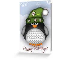 Happy Holidays Penguin Greeting Card