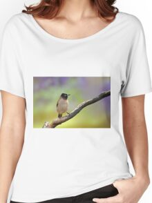 Pycnonotus xanthopygos, Yellow-vented Bulbul  Women's Relaxed Fit T-Shirt