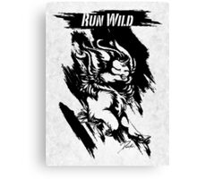 Run Wild (Black/White) Canvas Print