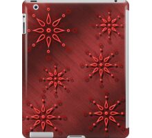 Red snowflakes on a metallic red background case iPad Case/Skin