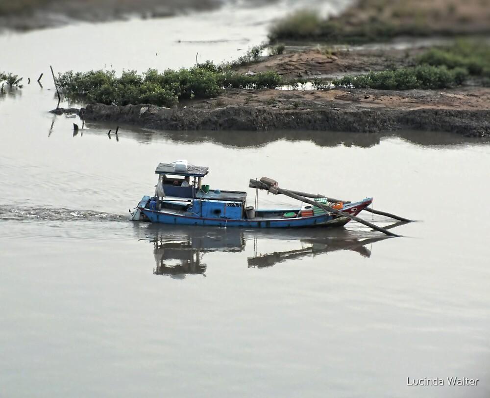 Fishing boat in Huangpu River by Lucinda Walter