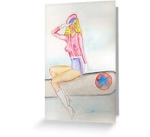 The American Bomber Girl PIN UP  Greeting Card