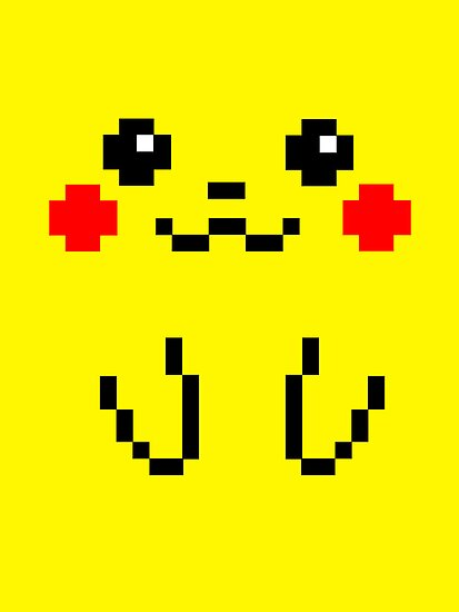 Pikachu Face 8bit by soulthrow