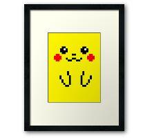 Pikachu Face 8bit Framed Print