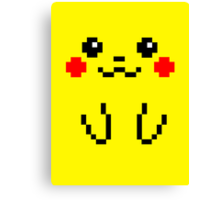Pikachu Face 8bit Canvas Print