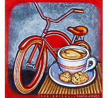 Red Electra Delivery Bicycle Cappuccino and Amaretti Photographic Print