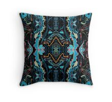 Abstract Marker Pattern - Black & Teal Throw Pillow
