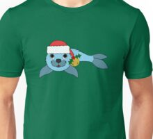 Light Blue Baby Seal with Santa Hat, Holly & Gold Bell Unisex T-Shirt